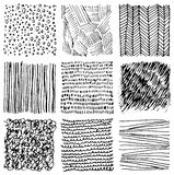 Set of hand drawn ink textures. Simple  scratchy patterns Royalty Free Stock Photo