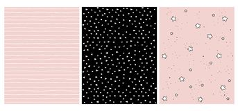 Set of 3 Hand Drawn Irregular Geometric Patterns. Lines, Triangles and Stars. stock illustration