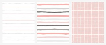Set of 3 Hand Drawn Irregular Geometric Patterns. Stripes and Grid. Grey, Pink and White Design. Horizontal Gry and Pink Stripes on a White Background. White stock illustration