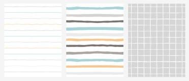 Set of 3 Hand Drawn Irregular Geometric Patterns. Stripies and Grid. Blue, Grey, Orange and White Design. vector illustration