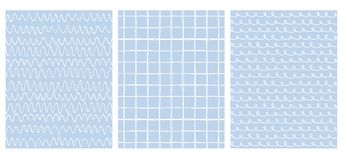 Set of 3 Hand Drawn Irregular Geometric Patterns. Waves, Grid and Loops. vector illustration