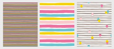 Set of 3 Hand Drawn Irregular Striped Vector Patterns. Colorful Stripes and Dots. Horizontal Colorful Stripes on a White and Brown Background. Abstract stock illustration
