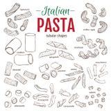 Set of hand drawn Italian pasta. Tubular shapes. Hand drawn vector illustration.  Stock Photography