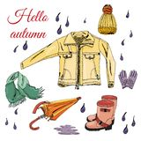 Set with hand drawn of items of autumn clothes and drops. Iink and colored sketch elements  isolated on white background. Vector illustration stock illustration