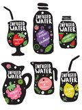 Set of hand drawn jars and glasses with lettering inscriptions and illustrations of fruits. vector illustration