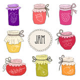 The set of hand drawn jars with home-made jams. Royalty Free Stock Photo