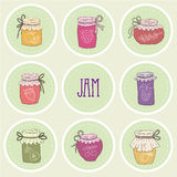 The set of hand drawn jars with home-made jams Royalty Free Stock Images