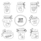 The set of hand drawn jars with home-made jams Stock Photo
