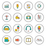 Set of hand drawn journalism icons Stock Images