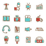 Set of hand drawn journalism icons Stock Photo
