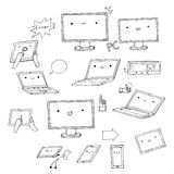 Set of hand-drawn kawaii gadgets Stock Photography