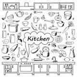 Set hand drawn kitchen doodles Stock Photos