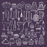 Set of hand drawn kitchen equipments. Kitchen utensils collectio Royalty Free Stock Image