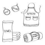 Set of hand drawn kitchen goods doodles isolated on a white background. Vector illustrations of apron, pot holder, towel, travel blanket vector illustration