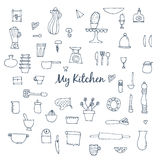 Set of hand drawn kitchen items for baking. Royalty Free Stock Photography