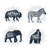 Set of hand drawn labels with animals vector illustrations and l Royalty Free Stock Photography