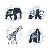 Set of hand drawn labels with animals vector illustrations and l Royalty Free Stock Photo