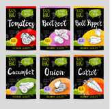 Set of hand drawn labels food, spices. Royalty Free Stock Image