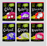 Set of hand drawn labels food, spices. Stock Image