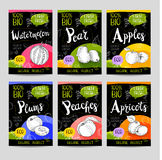 Set of hand drawn labels food, spices. Royalty Free Stock Photography