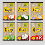Set of hand drawn labels food, spices. Royalty Free Stock Photos