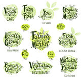 Set of hand drawn labels food, spices. Set of stickers. Vegan cafe, farm fresh, fresh smoothies, vegetarian restaurant, organic market, natural product, raw Stock Images