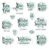 Set of hand drawn labels food, spices. Set of stickers. Vegan cafe, farm fresh, fresh smoothies, vegetarian restaurant, organic market, natural product, raw Stock Photos