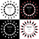 Set hand drawn labels icons with sketch lipsticks Stock Photo
