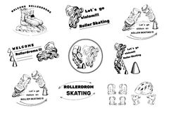 Set hand drawn labels, logos for Roller Skates sports. Drawing d Stock Image