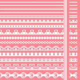 Set of hand drawn lace paper punch borders Stock Photos