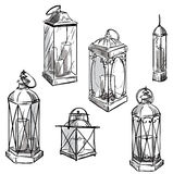 Set of hand drawn lanterns. Vector sketch. Stock Image