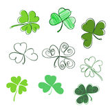 Set hand-drawn leaf clover in green colors. Three and Four leaf,. Silhouettes, doodle, stylized. St. Patrick`s day - stock vector Stock Image