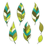Set of hand-drawn leaves Stock Photos