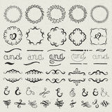 Set of hand drawn lettered design elements Stock Photos