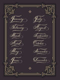 Set of hand drawn lettering all months of the year. Elegant modern handwritten calligraphy. Vector Ink illustration. Royalty Free Stock Image