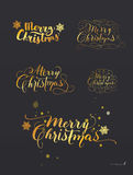 Set of Hand-Drawn Lettering based on a Nib and Brush Calligraphy. Snowflakes on the background. Merry Christmas. Vector. Royalty Free Stock Photos