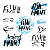 Fish market hand drawn. Set of hand drawn lettering fish market, brush pen, inc. Vector. Logo. Could be used for fish market. Vector Royalty Free Stock Images