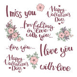 Set of hand drawn lettering with flower composition. Happy Valentine's day. I miss you. I'm falling in love with you. I love you. For you. With love. Vector vector illustration