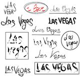 Set of hand drawn lettering - I love Las Vegas. Name of city in different spellings. Design element. Vector. Isolated on white background vector illustration
