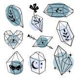 Set of hand drawn line art Minerals stock illustration