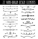 Set of hand-drawn line border dividers and design Stock Photography