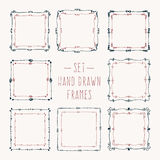 Set hand drawn line border. Royalty Free Stock Images