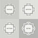 Set of hand drawn line ink geometric seamless Stock Image