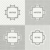 Set of hand drawn line ink seamless pattern  Stock Images
