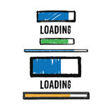 Set of hand drawn loading bars. Isolated on white background, with clipping masks. Hand drawn. EPS8 Royalty Free Stock Images