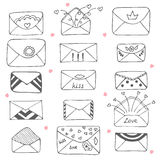 Set of hand drawn mailing envelopes. Communication icon in sketc Stock Images