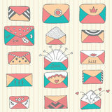 Set of hand drawn mailing envelopes. Sketch style Royalty Free Stock Photos