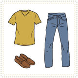 Set of hand drawn man's clothes Stock Image