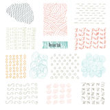 Set of hand drawn marker and ink patterns. Simple vector scratchy textures with dots, strokes doodles Royalty Free Stock Image