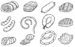 Set of hand drawn meat products illustrations.Sausages, bacon, lard, salmon, salami, steak, ribs. Design elements for poster, menu. Flyer. Vector illustration Royalty Free Stock Photo